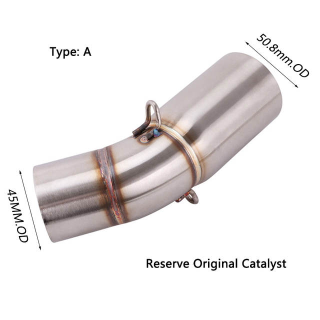 For Benelli Leoncino 500 800 Trail Exhaust Pipe Motorcycle Mid Link Pipe Delete Reserve Catalyst Slip On 51 mm Muffler