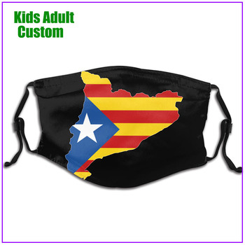 kids Men Women Catalonia Map With Flag face mask reusable shield virus protection washable custom designs pm2.5 mask filter cool