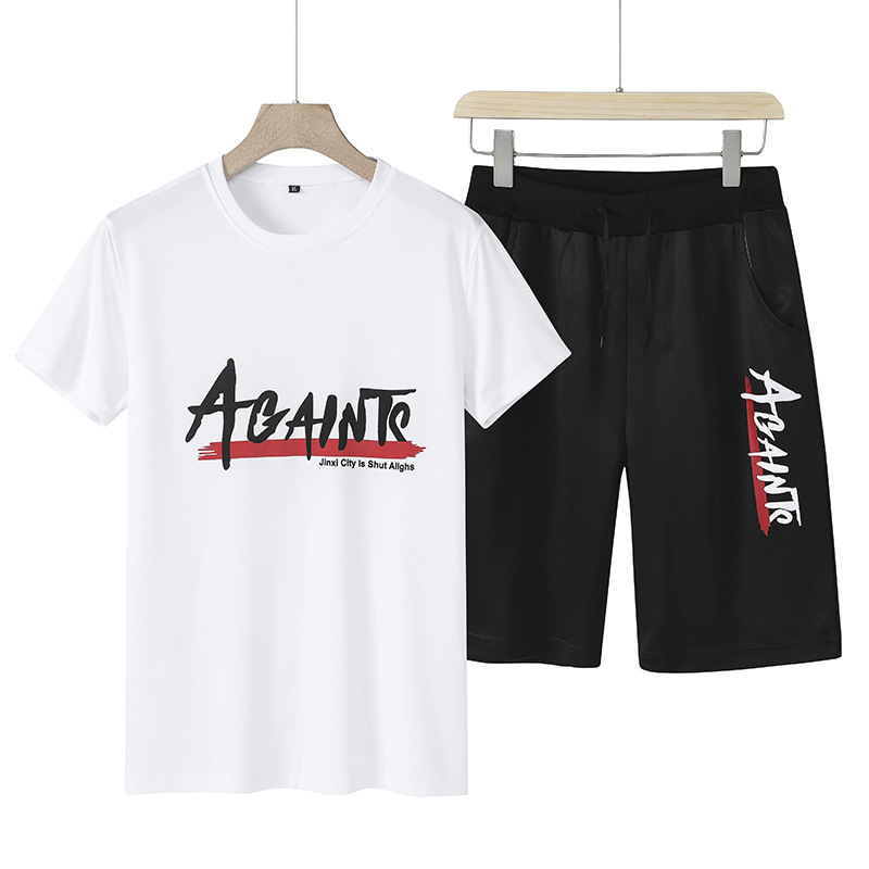 New Style Men's Fashion Casual Set Printed Short Sleeved T-shirt Versatile Handsome Shorts
