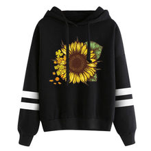 2019 Women's Winter New Solid Color Casual Top Hoodies Sweatshirts Sunflower Print Long Sleeve Hooded Sweatshirt Sportswear F816(China)