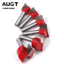 AUGT 6/8mm Shank Cleaning Bottom Router Bits Diameter Carbide Cutters For Wood Milling Cutter Woodworking Surface Planing Router