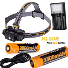 Fenix HL60R 950 Lumen USB recargable CREE XM-L2 T6 LED faro con 2 pilas Fenix 18650, cargador ARE-A2(China)
