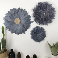 3pcs Set Flower Shape Feather Elegant and Refined Home Wall Hanging Decoration Nordic Decor Room Decoracion Habitacion