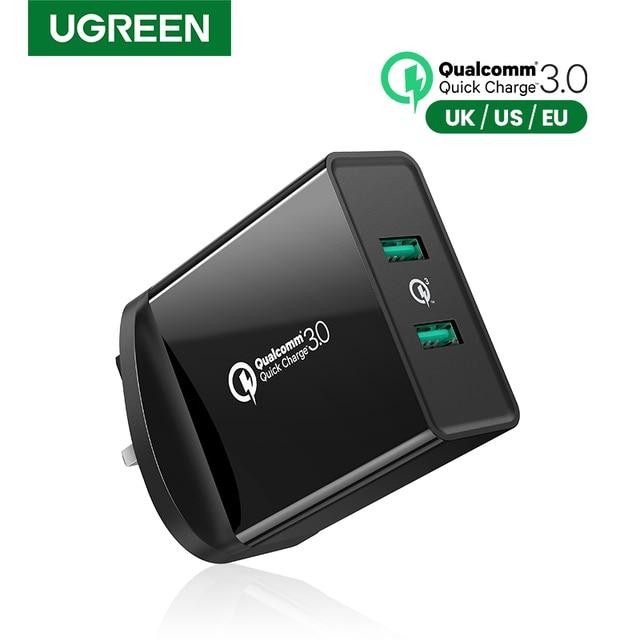 Ugreen cargador de pared USB de carga rápida para móvil, cargador de pared con QC 3,0 de 36W para Samsung, Xiaomi, iPhone X, QC3.0, Adaptador europeo