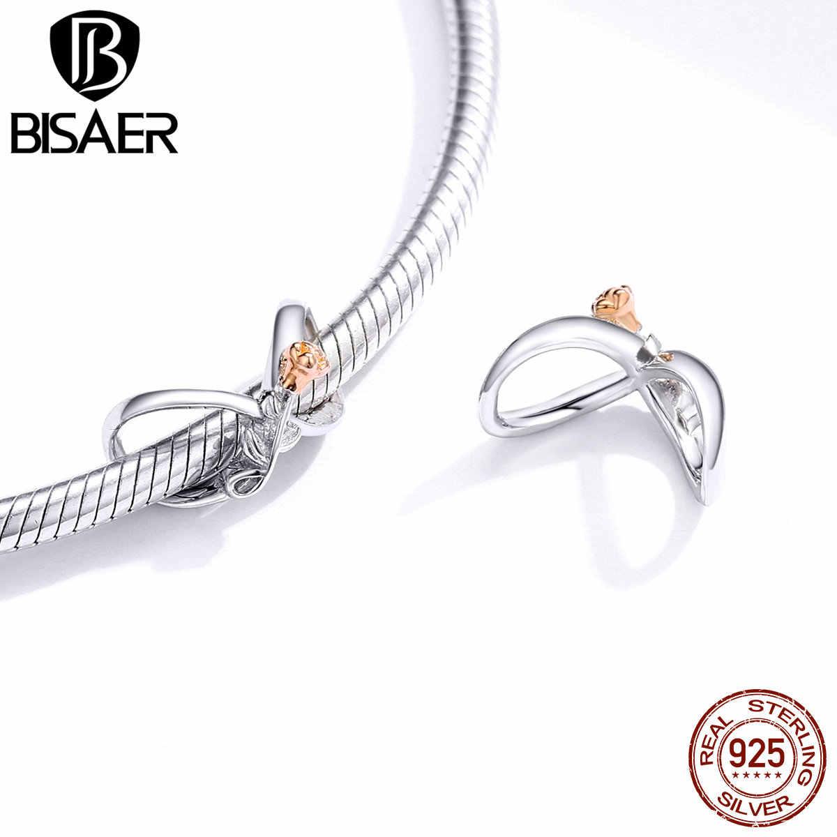 Bisaer infinity amor encantos 925 prata esterlina rosa flor pingente contas para diy pulseira colar jóias acessórios ecc1463