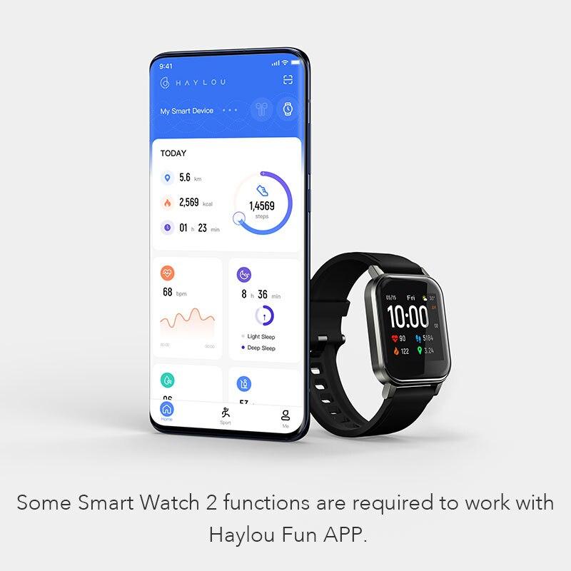 Новые модные удобные Смарт-часы Haylou LS02, водонепроницаемость IP68, 12 спортивных режимов, напоминание о звонках, умный Браслет Bluetooth 5,0 6