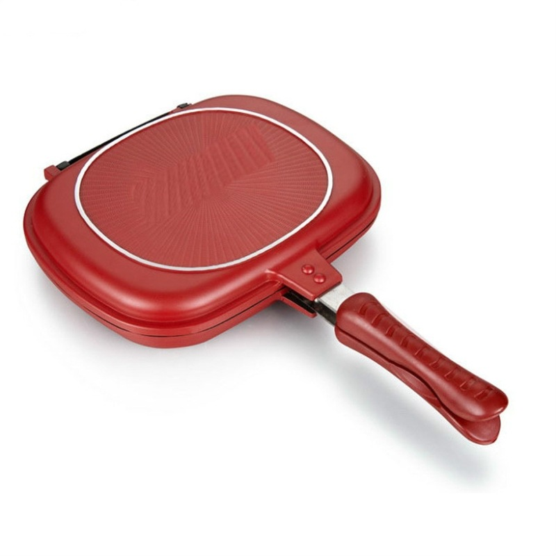 32CM Double-Sided Frying Pan Non-Stick Barbecue Cooking Tool For Home Outdoor Party Barbecue Making Cakes Kitchen Tools