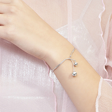 Silver Fashion Round Beads Bracelet 925 Double Bells  For Teen Girls Lady Gift Women Original Handmade Jewelry