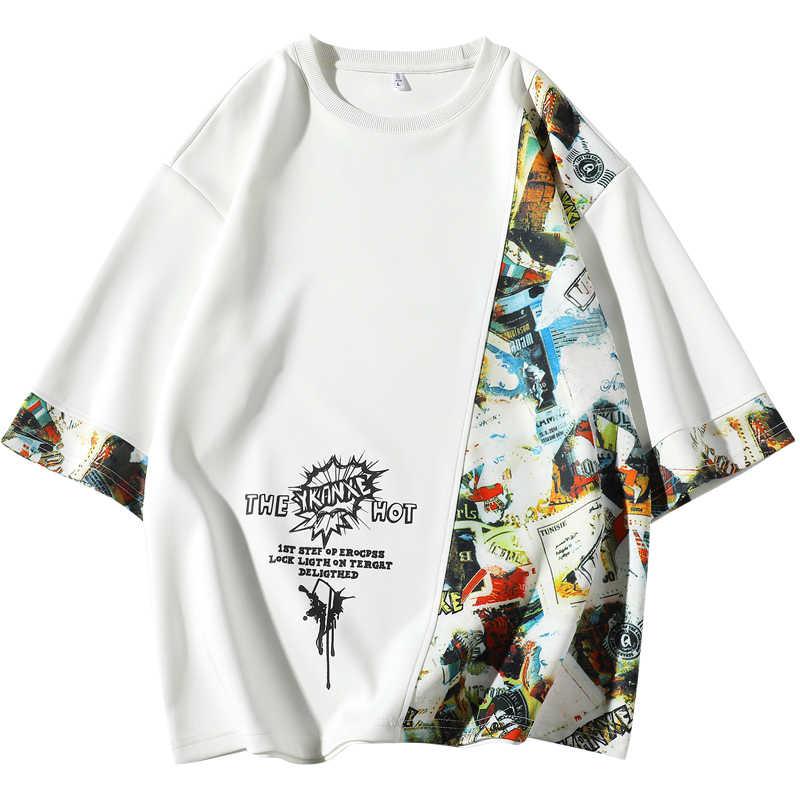 קצר שרוול חולצה גברים 2020 קיץ Loose Tshirt למעלה Tees היפ הופ פאנק רוק אופנה בגדים בתוספת גודל M-4XL 5XL O צוואר
