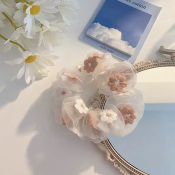 Women romantic style sweet embroidered flower hair tie large intestine ring rope ins yarn head girl hairband