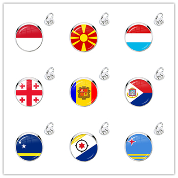 MCO,Macedonian,Luxembourg,Georgia,Andorra,Eilandgebied Sint Maarten,Curacao,Bonaire,Aruba Nation Flag Glass Adjustable Rings image