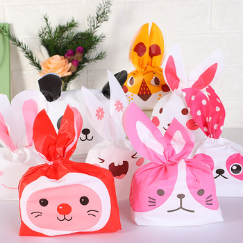 50PCS/lot Cute Cartoon Rabbit Wedding Party Goodie Bags Packing Cake Bonbonniere Gift Bag Candy Present Cow For Sweets Packaging image