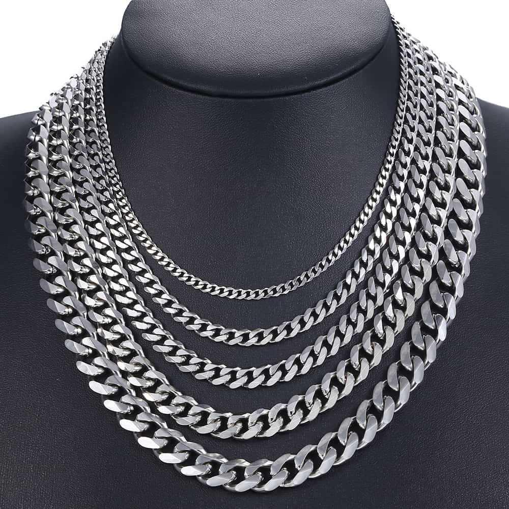 Curb kubański mężczyzna naszyjnik łańcuch srebrny złoty czarny stal nierdzewna naszyjniki dla mężczyzn biżuteria Davieslee 3/5/7/9/11mm DKNM07