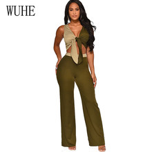 WUHE Women Sexy Elegant Overalls Rompers Patchwork Jumpsuits Female Sleeveless Lace-up Trousers Party Playsuits Macacao Feminino