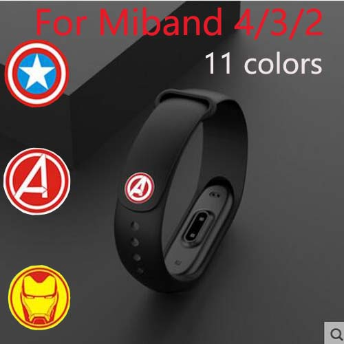 Hot sale <font><b>avengers</b></font> marvel movie hero For <font><b>Xiaomi</b></font> <font><b>Mi</b></font> <font><b>Band</b></font> <font><b>4</b></font> 3 2 Bracelet <font><b>Strap</b></font> Miband 3 2 Wrist <font><b>band</b></font> For <font><b>Mi</b></font> <font><b>Band</b></font> 2 3 <font><b>4</b></font> Silicone image