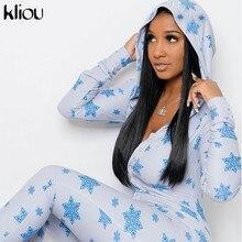 Kliou雪プリントフード付きスーツ女性のセクシーなボタンvネックフルスリーブ弾性ロンパースfeamleスキニーoveroll衣装2021トレンド