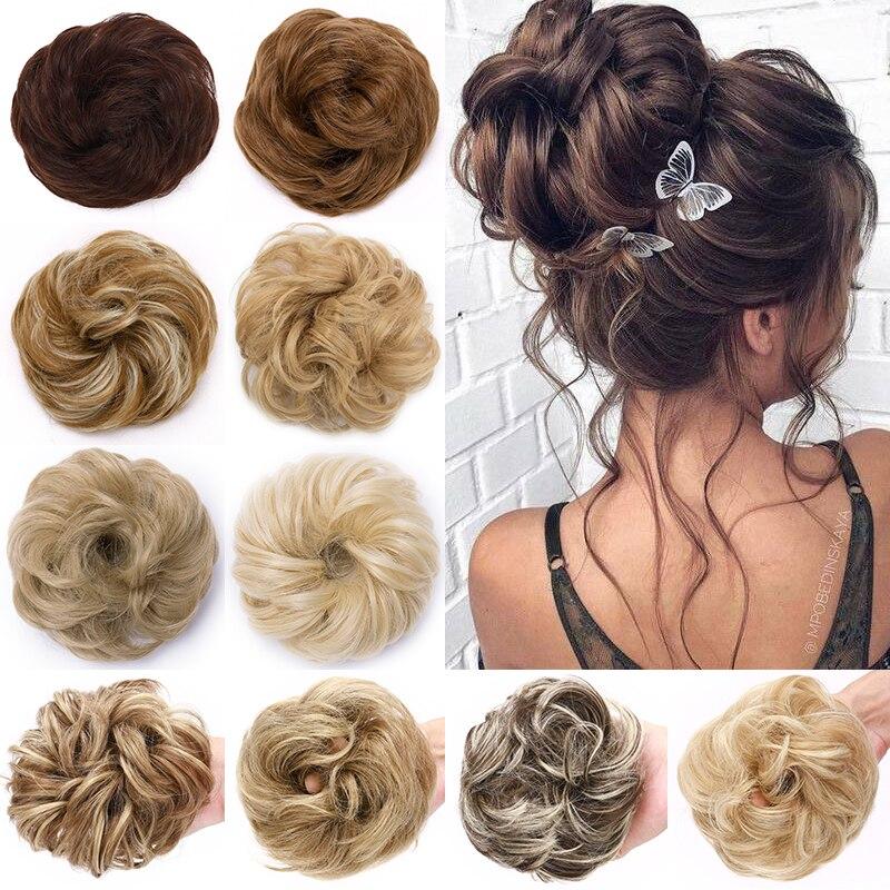 BENEHAIR Scrunchy Hair Bun Messy Bun Women Chignon Curly Chignon Synthetic Hair Extenison Updo Donut Hairpieces Fake Hair Piece