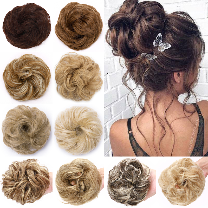 S-noilite Scrunchy Hair Bun Messy Bun Women Chignon Curly Chignon Synthetic Hair Extenison Updo Donut Hairpieces Fake Hair Piece