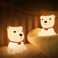 Светодиодный ночник с милой собакой, лампа с сенсорным управлением и дистанционным управлением, RGB, детские, детские, USB-лампы, светильник дл...