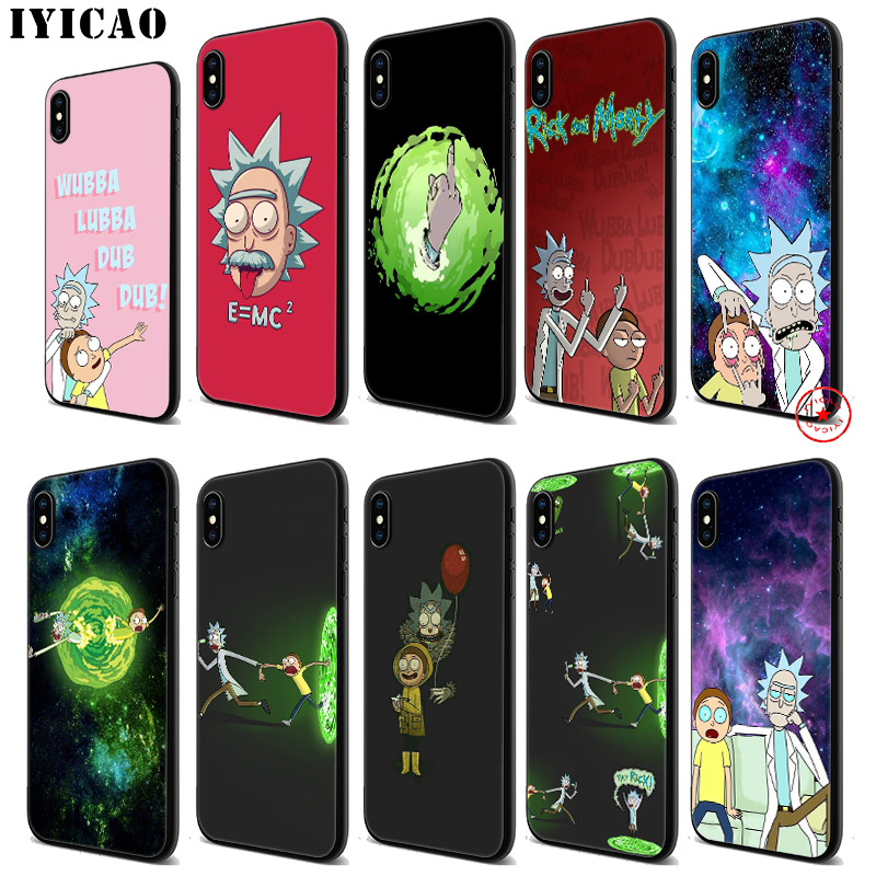 IYICAO Rick And Morty Soft Black Silicone Case for iPhone 11 Pro Xr Xs Max X or 10 8 7 6 6S Plus 5 5S SE