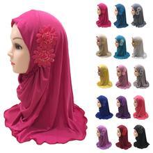 Moslim Kids Meisjes Hijab Islamitische Hoofddoek Bloem Sjaal Een Stuk Amira Kinderen Gebed Sjaal Ramadan Volledige Cover Wrap Cover 2 7Y