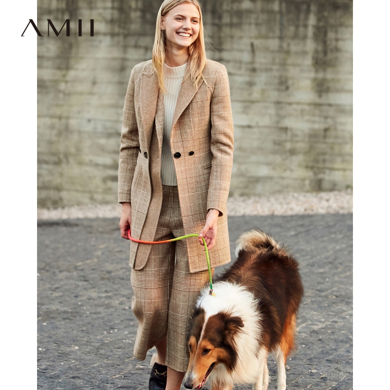 Amii Office Lady Plaid Suits Elegant Autumn Lapel Slim Mid-long Blazer Casual Pants Female Two Piece Set 11820112