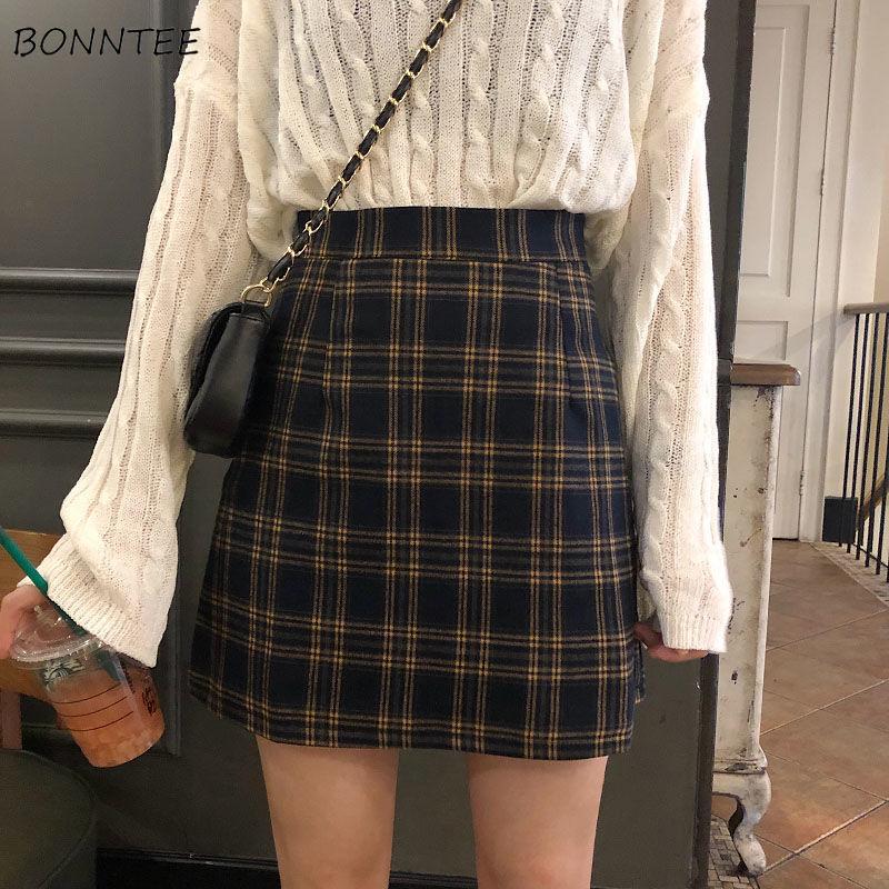 Юбка женская в ретро стиле, блестящая трапециевидная юбка в клетку, с завышенной талией, для студентов, стильная, 2XL