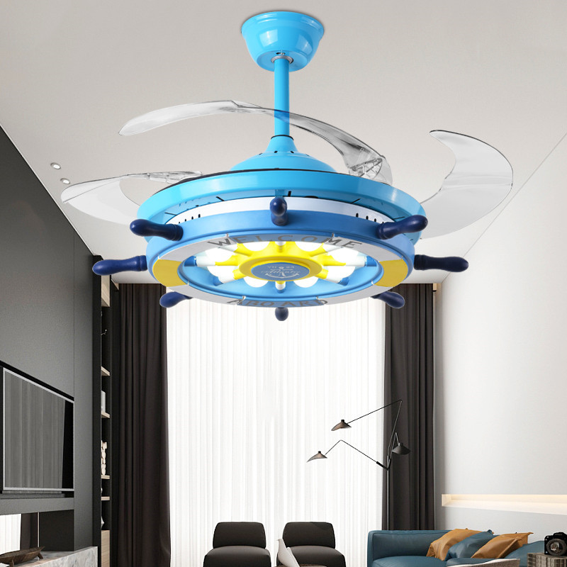 Lamps Lighting Ceiling Fans Ship Rudder Shape Modern Ceiling Fan With Led Light Chandelier For Kids Bedroom Home Garden