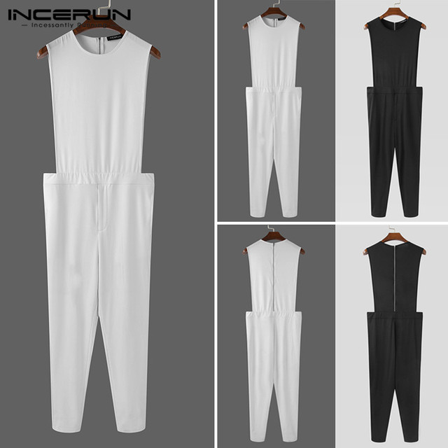 INCERUN Men Solid Color Rompers Sleeveless O Neck Jumpsuits Fashion Fitness Bib Pants Zippers Streetwear Overalls Suspenders 5XL 5