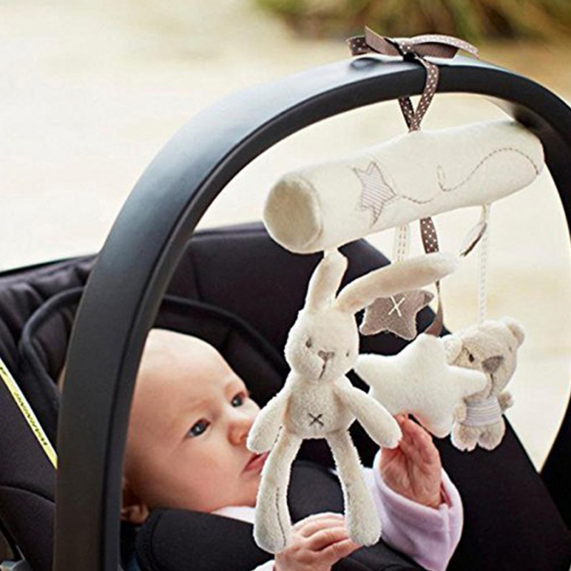 Infant Baby Plush Cartoon Animals And Star Hanging Musical Toys For Bed Stroller Car Seat Bar Plush Stroller Toy For Infant