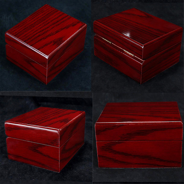 4Pcs עץ שעון תיבת תצוגת מקרה אוסף, Vintage סגנון תכשיטי אחסון ארגונית לנשים גברים אדום