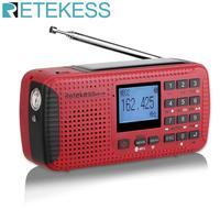 Retekess HR11W FM/AM NOAA Weather Emergency Radio Hand Crank Solar Radio Bluetooth MP3 Player Digital Recorder Portable F9208C