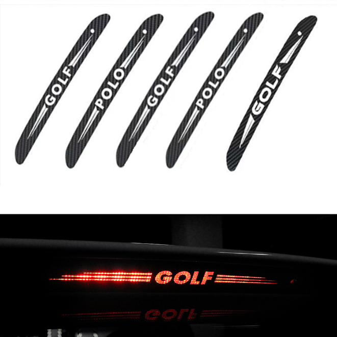 1PCS Carbon Fiber Car Stickers High Mount Brake Lamp Luminous Stickers For Volkswagen VW GTI GOLF 5 6 7 T5 T7 MK6 MK7 POLO