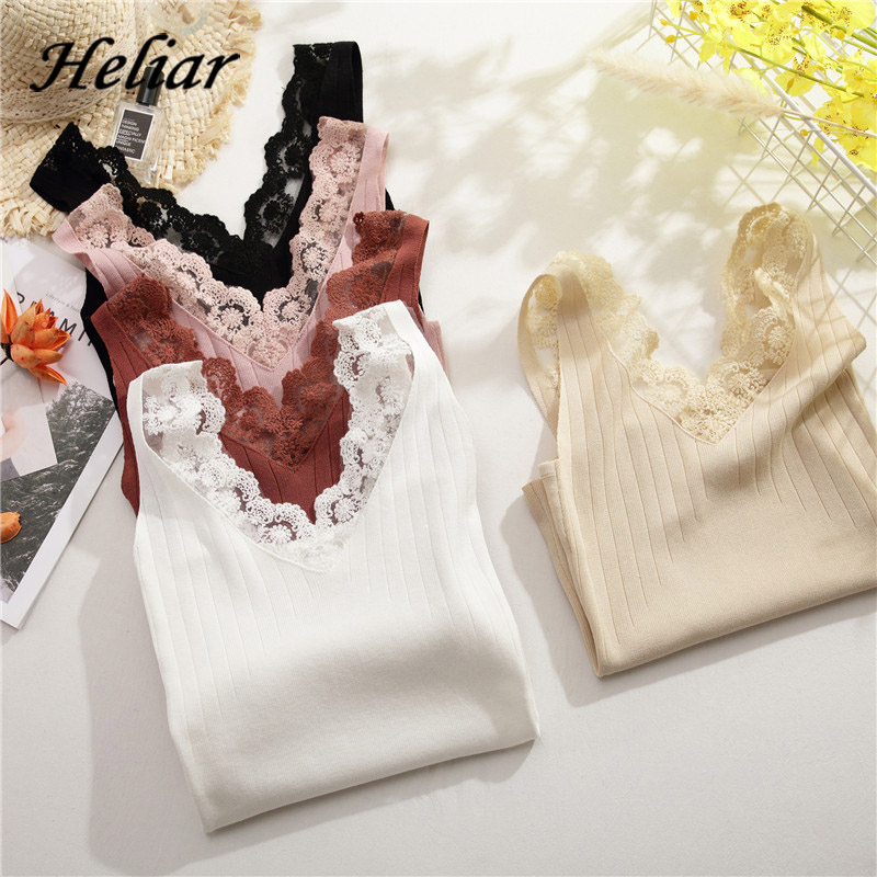 HELIAR Tops Female V-neck Laced Up Buttons Sexy Skinny Crop Tops Women Spaghetti Velvet Tops For Women 2020 Summer