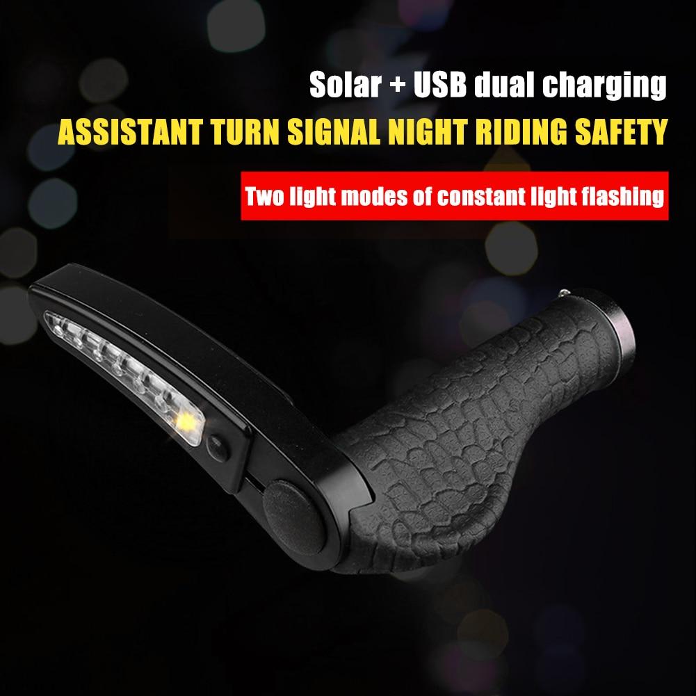 Bicycle Hand Grips Solar USB ChargingTurn Signals Light Handlebar Grips W// Wrenc
