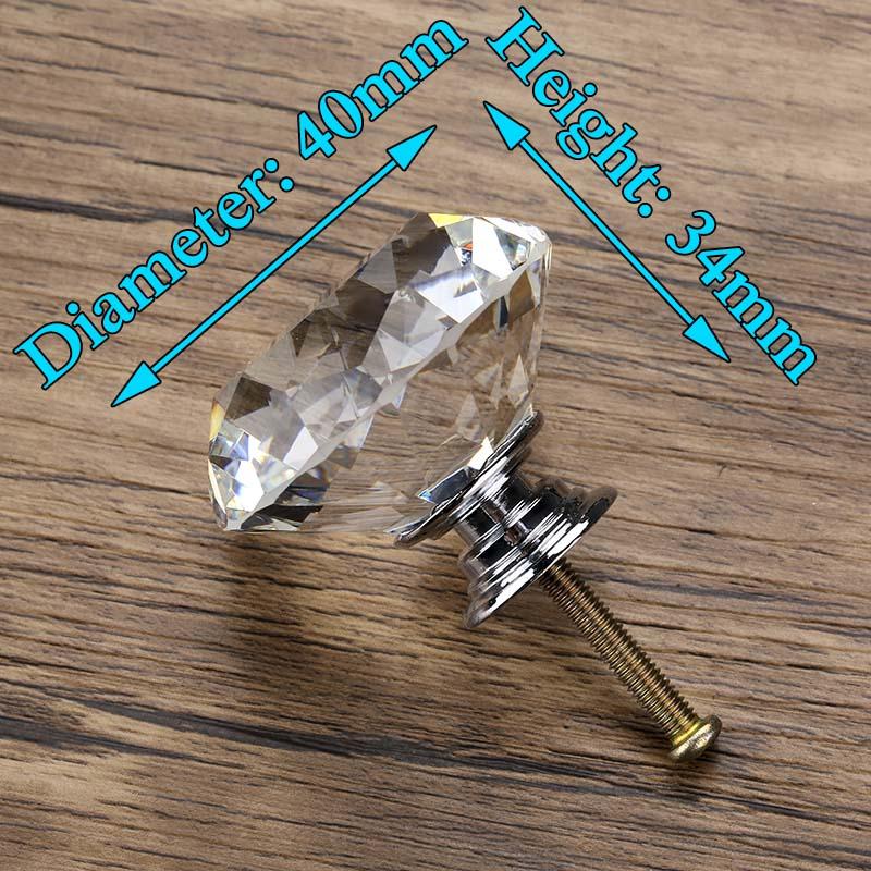 KAK 20-40 мм Алмазная форма дизайн Хрустальные стеклянные ручки шкаф выдвижной ящик Кухонный Шкаф Дверь Шкаф ручки Фурнитура - Цвет: 40mm