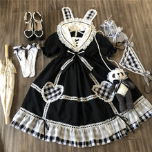 Gothic vintage sweet lolita dress sailor collar lace bowknot puff sleeve black white lattice kawaii dress girl loli cosplay op