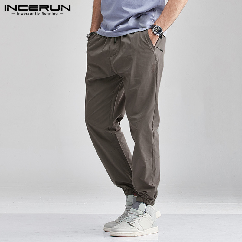 INCERUN Solid Color Casual Pants Men Elastic Waist Joggers Long Trousers Baggy Streetwear Fashion Men Cargo Pants Harajuku 5XL
