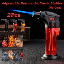 1pcs Windproof Refillable Jet Torch Lighter Gas Flame Brazing BBQ Tool for Kitchen Baking Food Barbecue(No Gas)