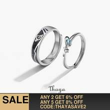 Thaya Women Rings Jewelry 3D Texture Rings Blue Planet Couple 925 Sterling Silver Rings For Women Engagement Gift(China)