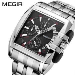 Image 2 - MEGIR montre à Quartz de luxe pour hommes, en acier inoxydable, montre bracelet, grande marque, Business, chronographe