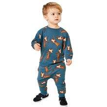 Springen Meter Neue Baby Jungen Kleidung Sets Herbst Winter Cartoon Tiger Gedruckt Baumwolle Jungen Mädchen Outfit Langarm Hemd Hose