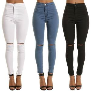 Skinny Jeans Pencil-Pants Ripped Black Blue Vintage Girls High-Waist Casual Denim Women