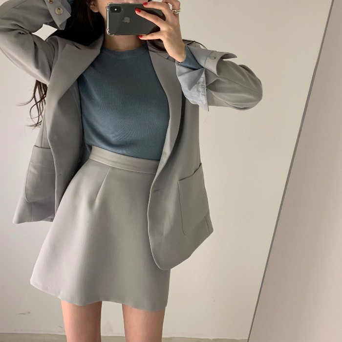 2 Pieces Set 2019 Women Blazer Suit Solid Single-breasted Blazer Ladies Jacket+ Mini A Line Korean Autumn Skirt Suit Outwear