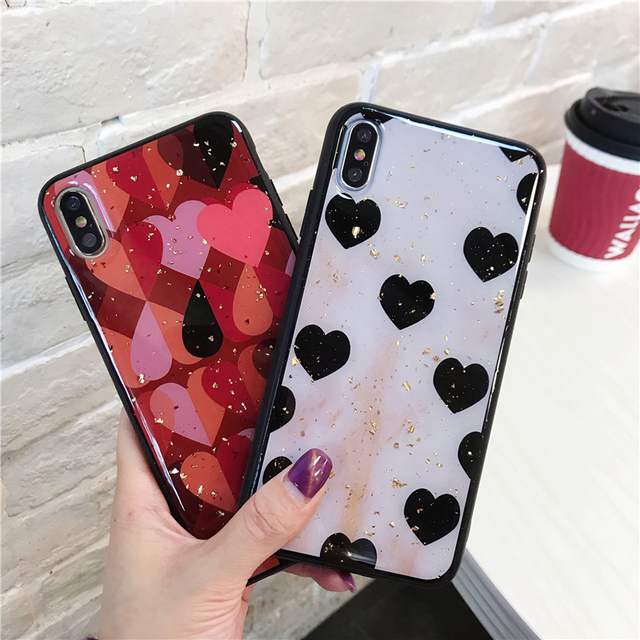 Cute Love Heart Print Back Cover For iPhone X XR XS MAX 8 7 6 6S Plus Phone Case Hard PC Cases Coque For iPhone 7 8 Plus