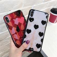 Nette Liebe Herz Drucken Zurück Abdeckung Für iPhone X XR XS MAX 8 7 6 6S Plus Telefon Fall harte PC Fällen Coque Für iPhone 7 8 Plus