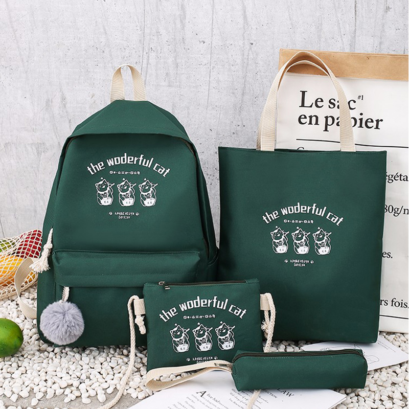 PUBGS Women Backpack 2019 New Canvas Bags 4-piece Set Student School Bags Cute Casual Style Functional Portable Large Capacity