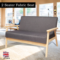 2 Seater Sofa Linen Fabric Wood Frame Two Person Sofa Modern Simple Living Room Sofa Family House Small Chair Home Furniture