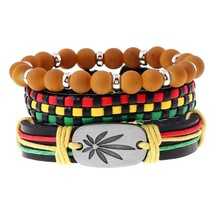 Cowhide Bracelet Ornaments Rope-Chain Green Jamaica Hip-Hop Lace-Up Braided Reggae Sporty