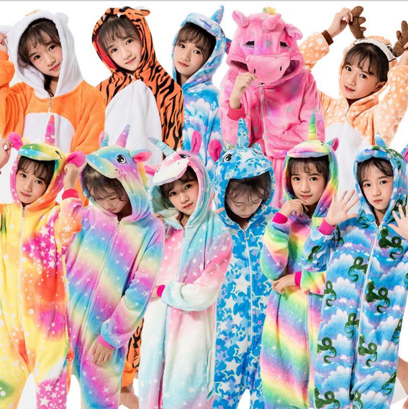 Kids Winter Jumpsuit Unicorn Pajamas Kigurumi Animal Giraffe Pyjamas Boys Girls Onesies Cosplay Flannel Stitch Onesie Sleepwear